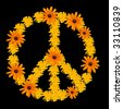 Peace symbol made from orange flower calendula - stock photo