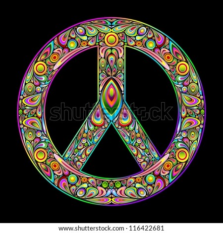 Peace Symbol Psychedelic Art Design - stock photo