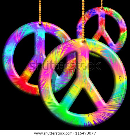 Peace Symbols Psychedelic Ornaments - stock photo
