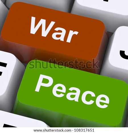 Peace War Keys Showing No Conflict Or Aggression