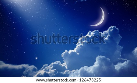 Peaceful background, blue night sky with moon, stars, beautiful clouds and bright spotlight from above - stock photo