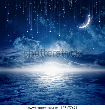 Peaceful background, blue night sky with moon, stars, beautiful clouds, glowing horizon - stock photo