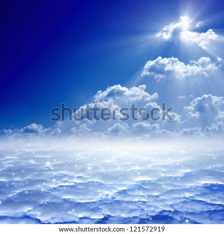 Peaceful background - blue sky, bright sun, heaven - stock photo