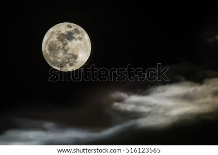 Peaceful background, night sky with full moon, beautiful cloudy.