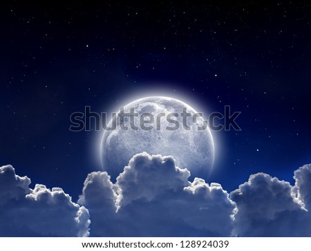 Peaceful background, night sky with full moon, stars, beautiful clouds. Elements of this image furnished by NASA - stock photo