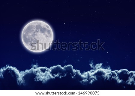 Peaceful background, night sky with full moon, stars, beautiful clouds. Elements of this image furnished by NASA
