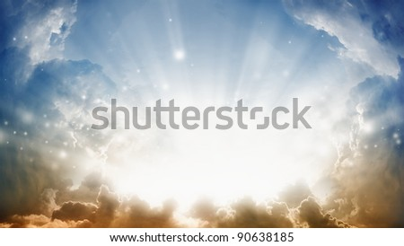 Peaceful background - sunshine from heaven. - stock photo