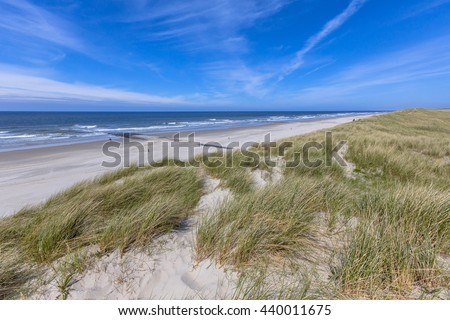 Peaceful Beach and dunes on Wadden island in the Netherlands - stock photo
