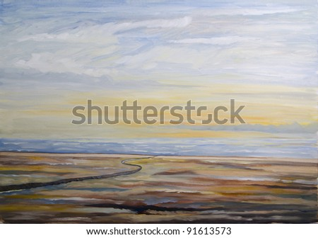 peaceful beach landscape - original oil on canvas painting - stock photo