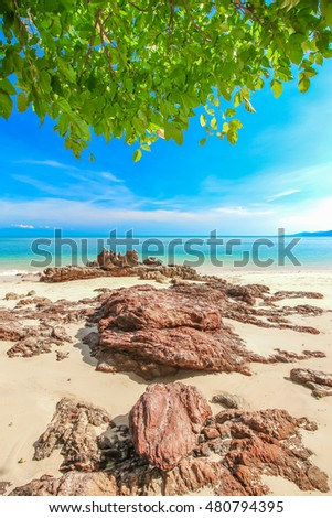 peaceful beach with stone and blue sky background