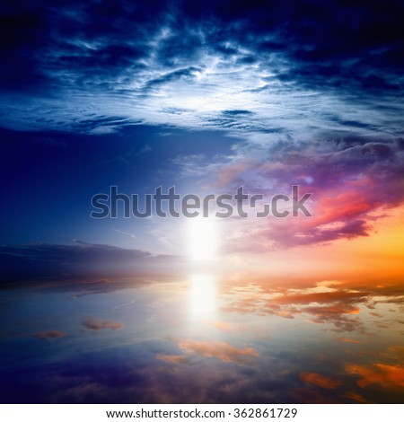 Peaceful beautiful background - way to heaven, bright light from heaven door, glowing horizon - stock photo