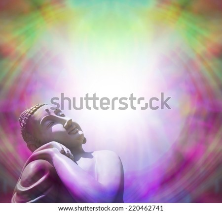Peaceful Buddha basking in light - Buddha in left bottom corner basking in bright light on a purple and green border background - stock photo