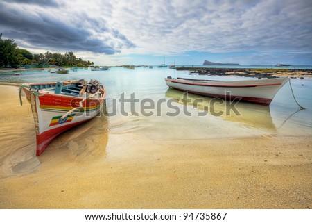 Peaceful coastal view, Mauritius - stock photo