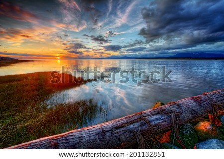 Peaceful colorful blue and orange river sunset with log - stock photo