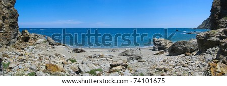 Peaceful cove panorama in the rocky coast of the marine reserve Cerbere Banyuls, Mediterranean sea, Vermilion coast, Pyrenees Orientales, France