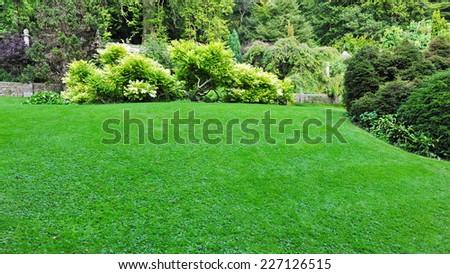 Peaceful Garden Lawn - stock photo