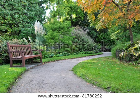 Peaceful Garden Scene in Autumn - stock photo