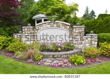 Peaceful Garden with Pavilion - stock photo