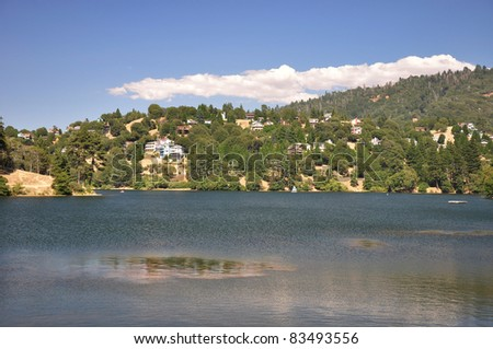 Peaceful Lake Gregory is a popular place for recreation in the San Bernardino mountains. - stock photo