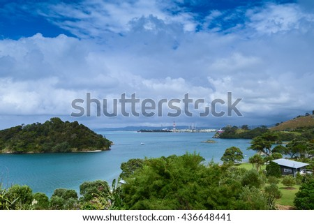 Peaceful lakeside location, with clear blue waters in Whangarei Heads, New Zealand.  - stock photo