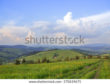 Peaceful landscape. green hills.