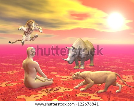 Peaceful man sitting in lotus position in front of agressive wild animals by sunset - stock photo