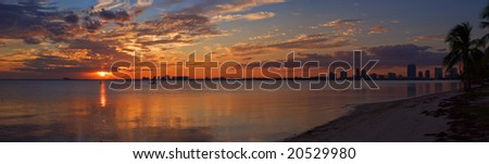 Peaceful Miami Sunset Biscayne Bay Beach Panorama - stock photo