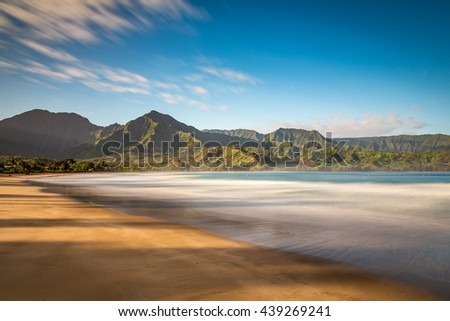 Peaceful morning at Hanalei beach on the island of Kauai, Hawaii - stock photo