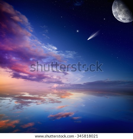 Peaceful nature background - beautiful pink sunset with falling comet, bright stars, moon and reflection in water. Elements of this image furnished by NASA nasa.gov - stock photo