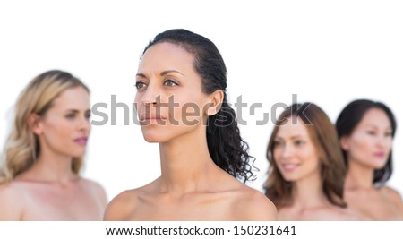 Peaceful nude models posing looking away on white background - stock photo