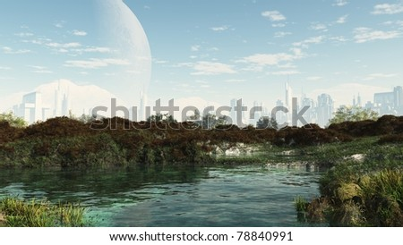 Peaceful oasis in the centre of a futuristic sci-fi city, 3d digitally rendered illustration - stock photo