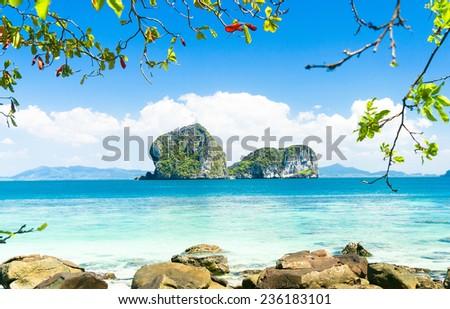 Peaceful Paradise Exotic Beach  - stock photo