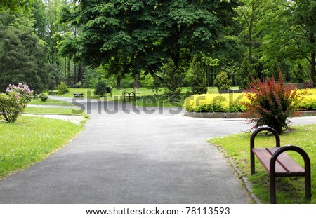 Peaceful park in the city - stock photo