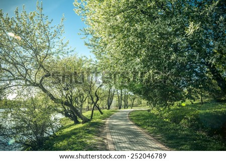Peaceful park place with stone path with a lake - stock photo