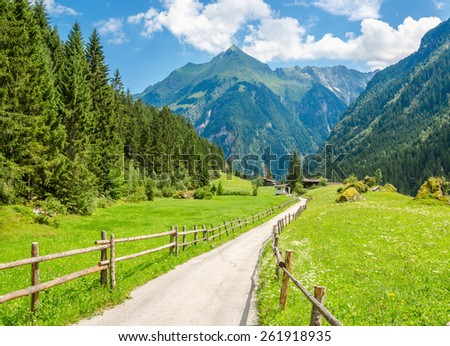 Peaceful road surrounded by wooden fence and green meadows in Austrian Alps, Zillertal Area, Mayerhofen - Insbruck, Austria - stock photo