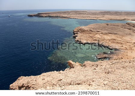 peaceful rock bay in the red sea region, sinai, egypt. tinted  - stock photo