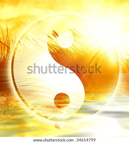 peaceful scene with the yin yang sign on it - stock photo