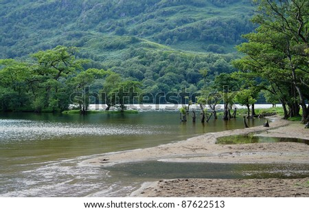 peaceful scenery in Scotland around Loch Lomond at summer time - stock photo