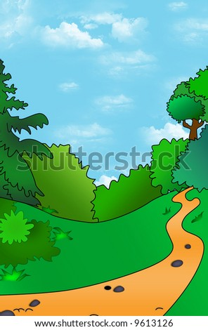 Peaceful summer landscape with path in wood