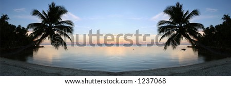 Peaceful sunset taken on the beach on Ko Pha-Ngan island in Thailand. - stock photo