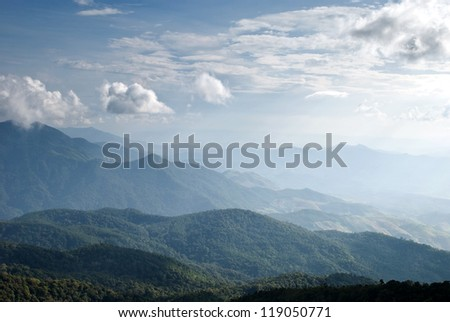 Peaceful Valley a view from top of Intanont mountain, Thailand - stock photo