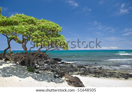 Peaceful view of the Pacific ocean from a sandy beach on the Big Island of Hawaii. - stock photo