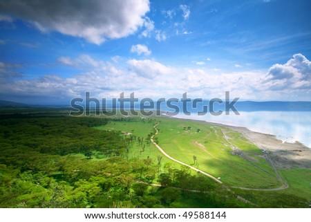 Peaceful view on the lake Nakuru. Africa. Kenya - stock photo