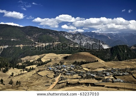 peaceful  village at Shangri La in china - stock photo