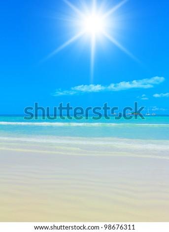 Peaceful Waters Sun in the Sky - stock photo