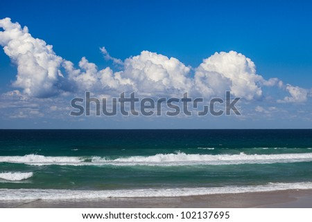 Peaceful waves in Surfers Paradise, Gold Coast, Queensland, Australia - stock photo