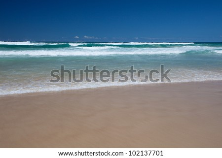 Peaceful waves in Surfers Paradise, Gold Coast, Queensland, Australia