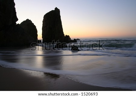 Peacefull beach sunset - stock photo