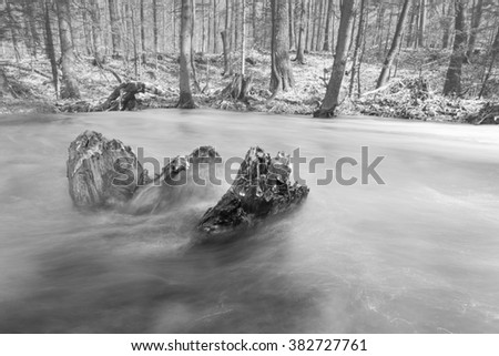 Peacefull soft flowing river in the forest with rock island - stock photo