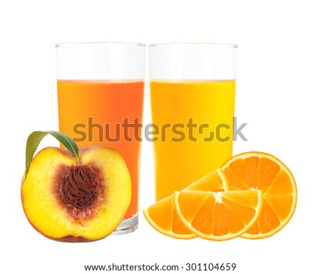 peach and orange juice in the glass isolated on white background - stock photo
